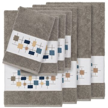 Authentic Hotel and Spa Turkish Cotton Squares Embroidered Dark Grey 8-piece Towel Set